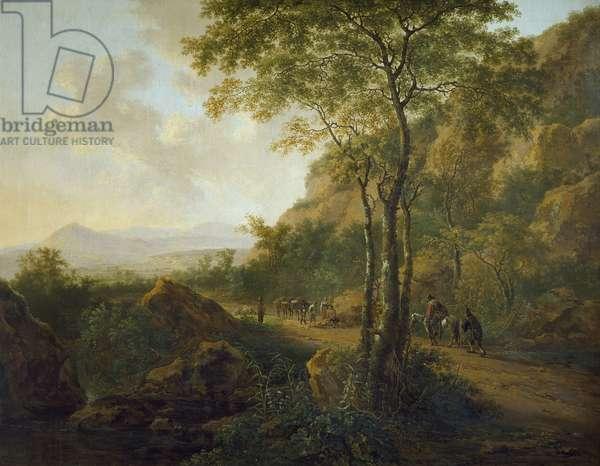Italianate Landscape with Muleteers (oil on canvas)