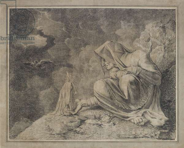 The Witch and the Mandrake, 18th century (pencil & w/c on paper)