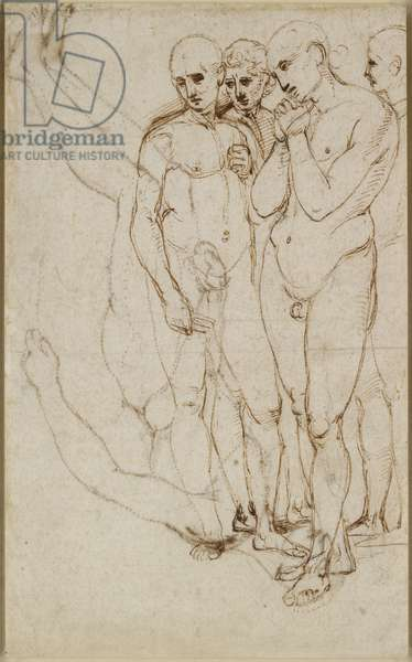 Recto: Study of four standing Men in a Pietà, WA1846.171 (pen & brown ink with indications in lead point on off-white paper)