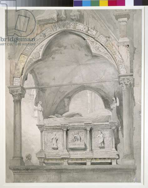 Study for Detail of the Sarcophagus and Canopy of the Tomb of Mastino II della Scala at Verona, 1852 (graphite and watercolour on wove paper)