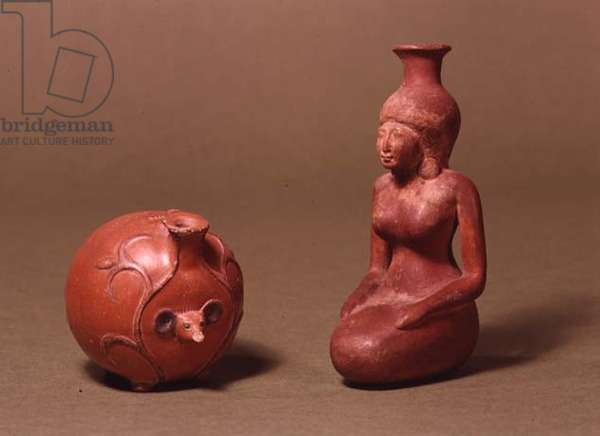 Vessels in the shapes of a girl and a hedgehog (pottery)
