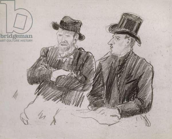 Van Gogh in Conversation, 1890 (black chalk on paper)