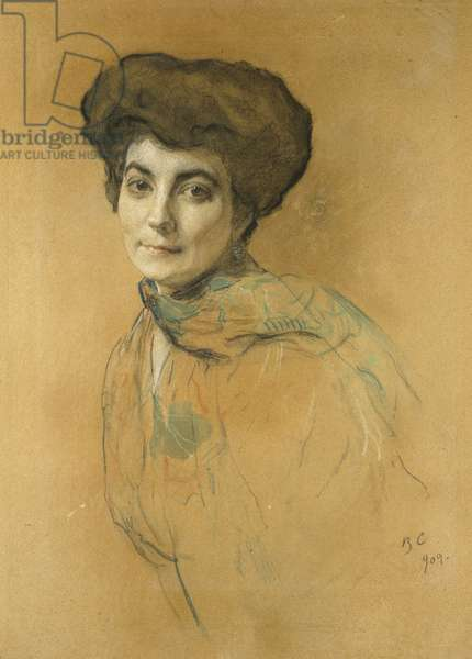 Portrait of Elena Ivanovna Roerich, 1909 (pastel & w/c with touches of bodycolour on light brown paper)