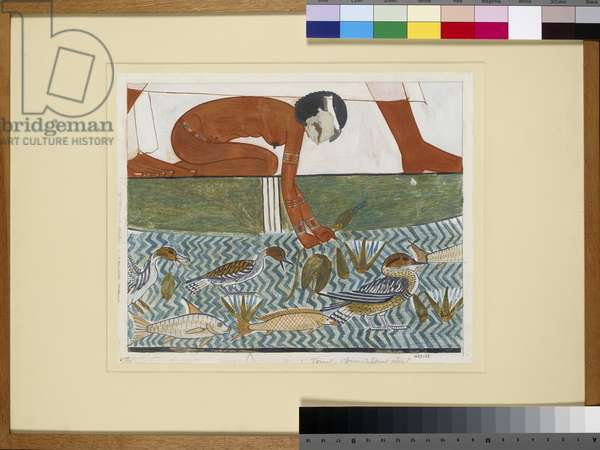 Copy of wall painting from private tomb 69 of Menna, Thebes (I,1, 134-139) fragment of large fishing scene (tempera)