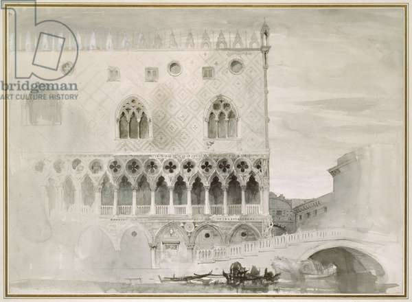 Exterior of Ducal Palace, Venice, 19th century (pen, ink and wash on paper)