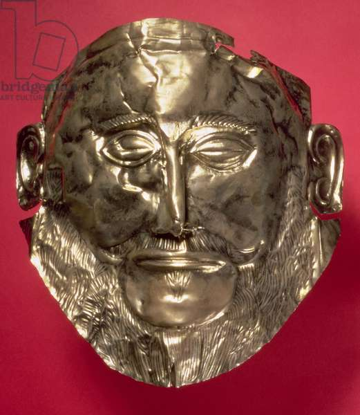 Replica of the Mask of Agamemnon, Mycenaean, c.16th century BC (gold)