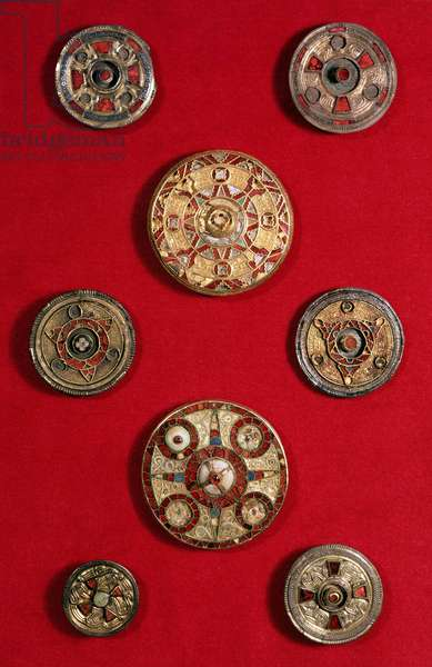 Kentish Circular Jewelled Brooches, Anglo-Saxon, c.600-650 (gold, shell, garnets and coloured glass)