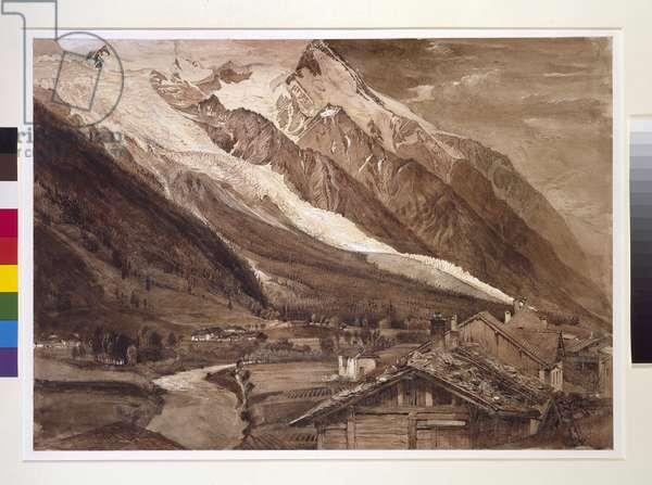Recto: The Glacier des Bossons, Chamonix, June 1849 (pen and wash in sepia ink, and bodycolour, over graphite on wove paper)