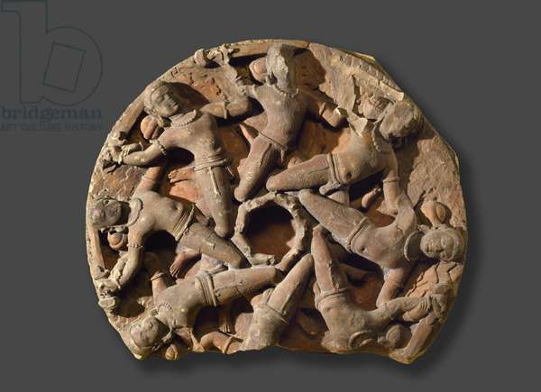 Ceiling roundel with eight inter-linked armed warriors, South Rajasthan, (sandstone)
