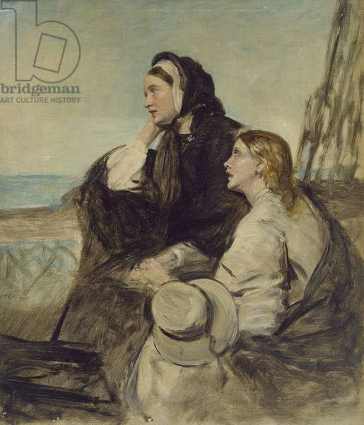 Two Women seated on Deck (oil on canvas)