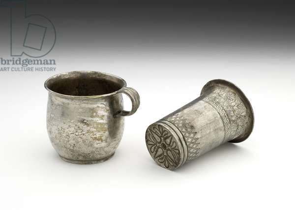 Silver beaker with incised decoration, and cup, 5th century BC (silver)