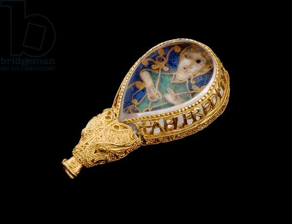 The Alfred Jewel (gold, rock crystal and enamel) (side view)