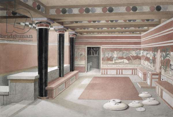 Reconstruction of the Throne Room of the Palace of Knossos, Crete, c.1500 BC, 1917 (w/c on paper)