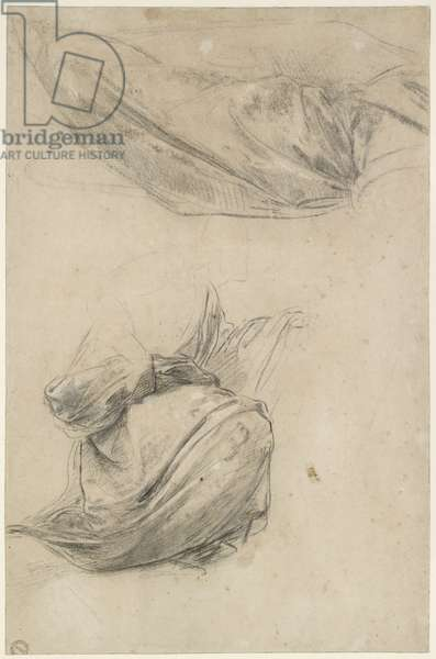 Two Studies of Drapery, WA1846.184 (black chalk, heightened with white chalk, on white paper)