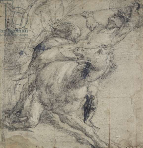 Horse and Rider falling, c. 1537 (black chalk on grey paper)