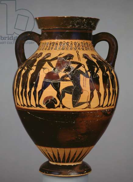 Attic black-figure amphora showing Theseus and the Minotaur observed by six youths (ceramic)