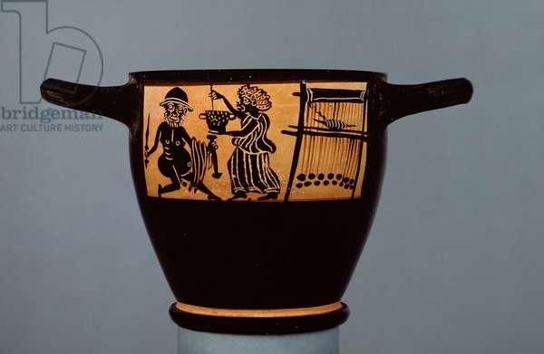 Boeotian black-figure skyphos, decorated with a scene of Odysseus being given a drugged potion by Circe, from the workshop of the Mystae Painter, from Thebes, Boeotia, late 5th century BC (ceramic) (recto:see 100559)