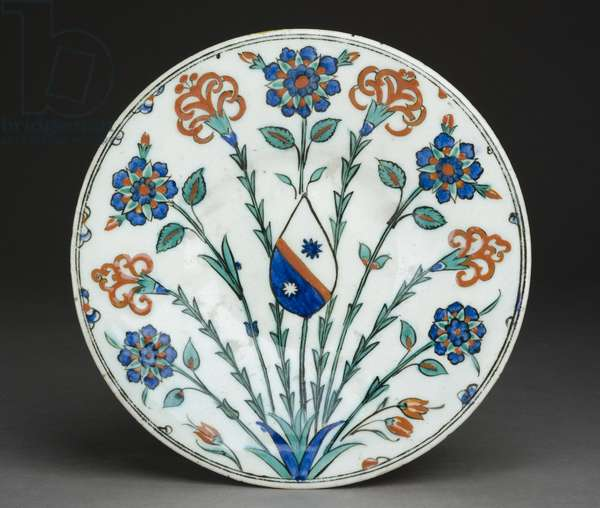 Dish with European coat of arms, Iznik ware, Turkish, c.1570 (stone-paste with polychrome under glaze)