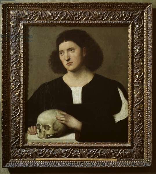 Portrait of a Young Man with a Skull, 17th century oil on canvas)
