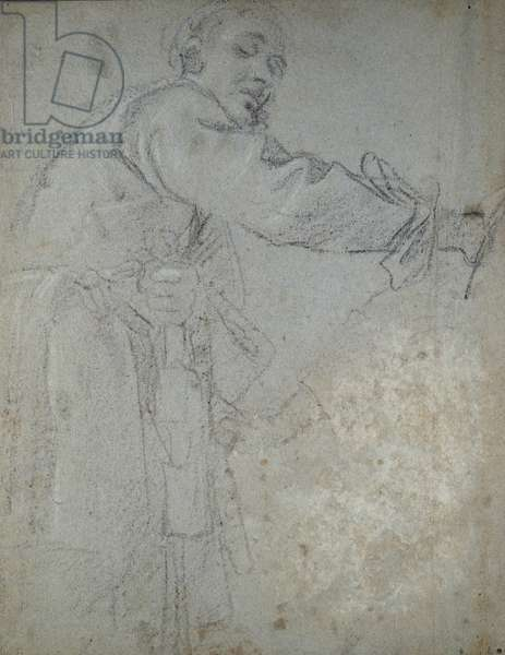 Study of a draped male figure (chalk on paper)
