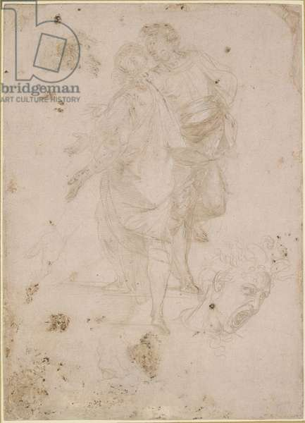Two Men conversing on a Flight of Steps, and a Head shouting, WA1846.191 (metalpoint with white heightening, partially oxidised, on pink prepared paper)