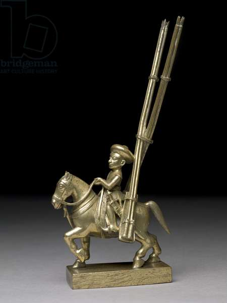 A mounted warrior with rocket-launchers, Indian, c.1795 (brass)