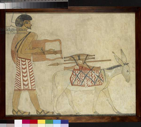 Semite lyre player with a donkey, copy of an Egyptian tomb painting (egg tempera on panel)