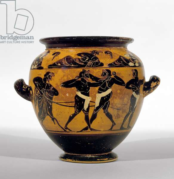 Attic black-figure stamnos depicting boxers, c.520-500 BC (pottery) (see also 100575)