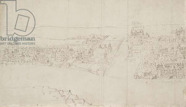 Panorama of London as seen from Southwark: Durham House to Barnard's Castle (pen & ink over black chalk on paper)