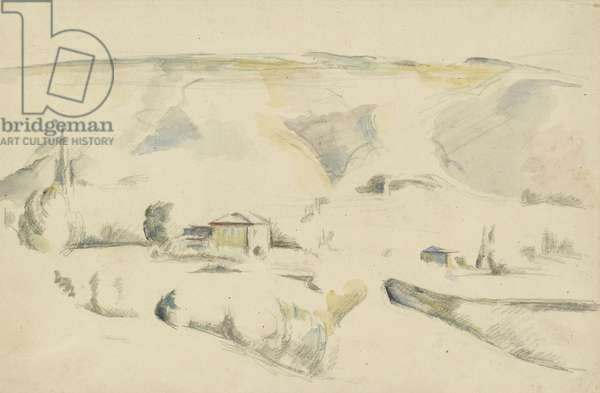 Recto: A View across a Valley (graphite and watercolour on off-white paper)