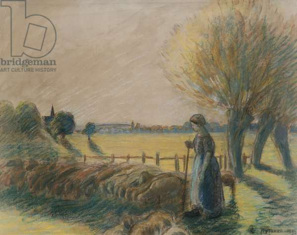 The shepherdess of Eragny (tempera and pastel with traces of watercolour and pencil on grey paper)