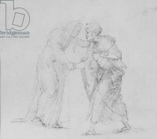Verso: Composition of two Figures representing the Meeting of Joachim and Anna, WA1846.204 (pen & brown ink)