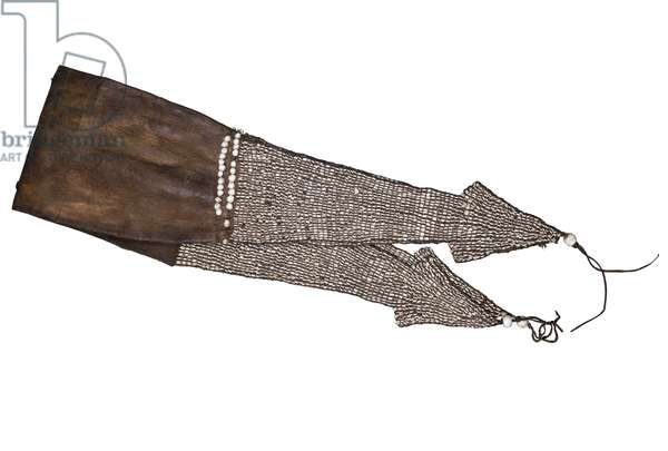 Skin pouch ornamented with marginella nirosa shells, probably 17th century (tanned leather and beads)