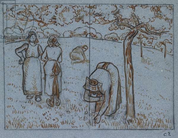 Compositional study of four female peasants working in an orchard ('Spring'), c. 1894 (red-brown and Indian inks over charcoal on blue paper)