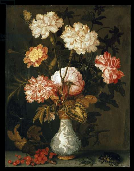 A Vase of Flowers (oil on panel)