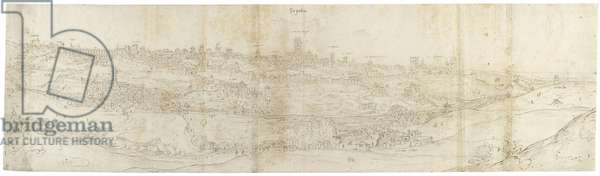 Panoramic View of Segovia from the East (pen and brown ink with touches of blue wash over black chalk)
