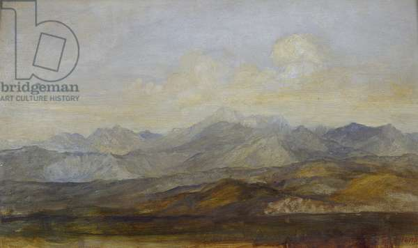 The Carrara Mountains from Pisa, 1845 - 1846 (oil on panel)