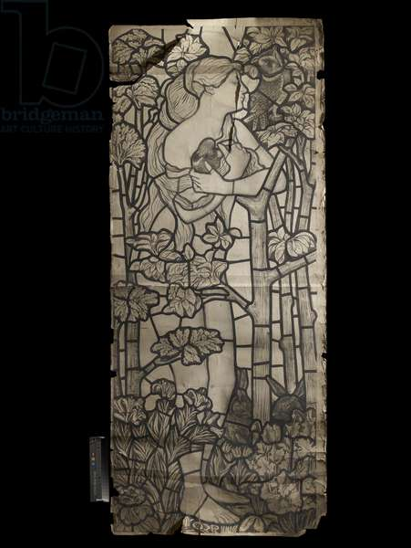 Cartoon for a Stained Glass Window of Eve, 1862 (black chalk with pen and brush and wash)