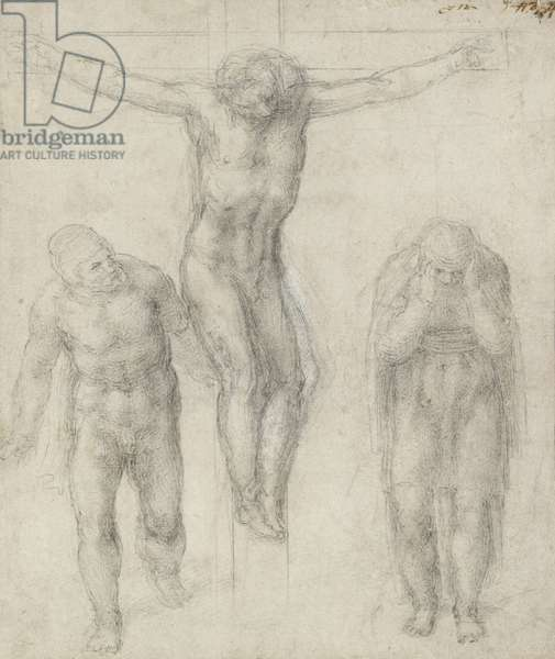 Study of a Crucified Christ and two figures, c.1560 (chalk on paper)