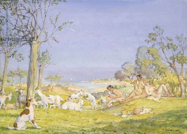 Landscape with Shepherds and Goats, 1931 (Bodycolour over graphite within a delineated border in graphite on white paper)