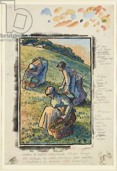Women weeding the grass (woodcut & w/c on paper)