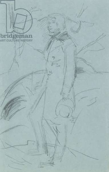 Preliminary Sketch for the Portrait of John Ruskin (graphite on blue paper)