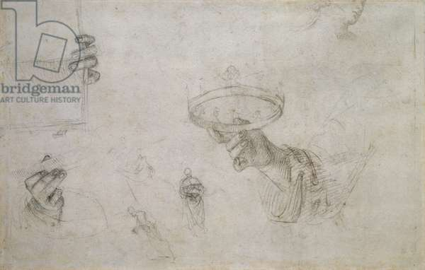 Recto: Hand holding a Crown, and other Studies for the Coronation of St Nicholas of Tolentino, WA1846.148 (black chalk with (?) charcoal on white paper)