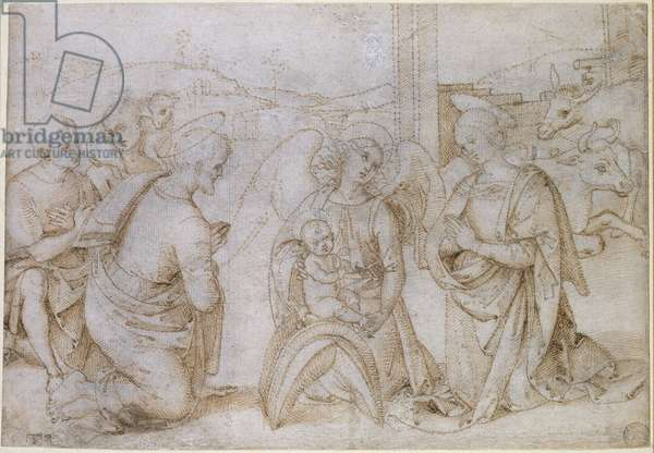The Adoration of the Shepherds, WA1855.90 (pen & brown ink on off-white paper, pricked for transfer)