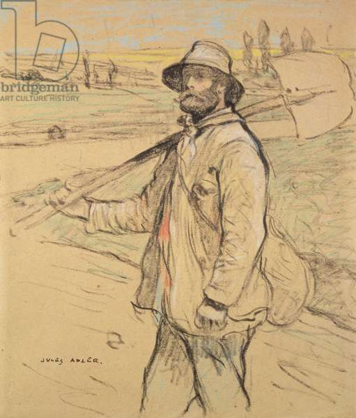 Workman, walking to left, with a Spade over his right Shoulder, 19th century (chalk on paper)