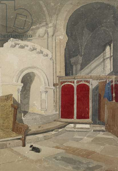 Interior of Norwich Cathedral, 19th century (w/c on paper)