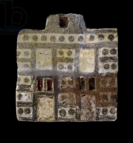 Faience inlay/plaque depicting a two-storey house, Middle Minoan IIIA Period, c.1800-c.1750 BC (faience & plaster)