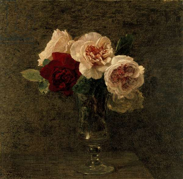 Still Life of Pink and Red Roses, 19th century (oil on canvas)