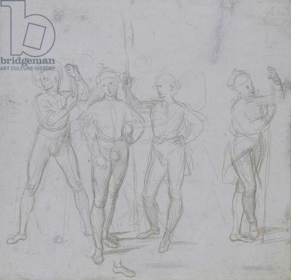 Recto: Group of four standing Soldiers, WA1846.154 (metalpoint on blue perpared paper)