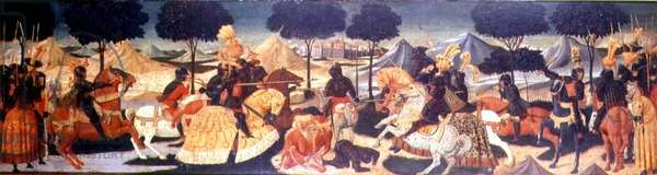 A Tournament, Florentine School, 1430-50 (oil on panel)